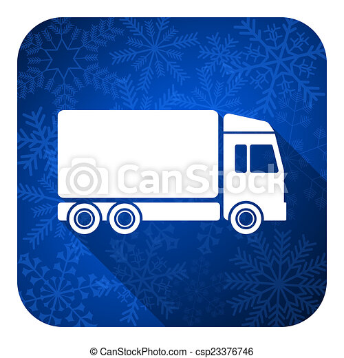 delivery flat icon, christmas button, truck sign - csp23376746