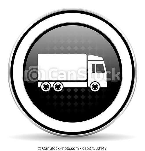 delivery icon, black chrome button, truck sign - csp27580147