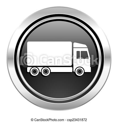 delivery icon, black chrome button, truck sign - csp23431872