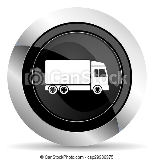 delivery icon, black chrome button, truck sign - csp29336375