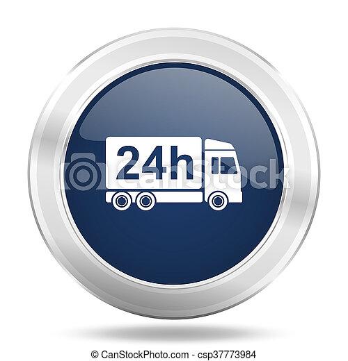 delivery icon, dark blue round metallic internet button, web and mobile app illustration - csp37773984