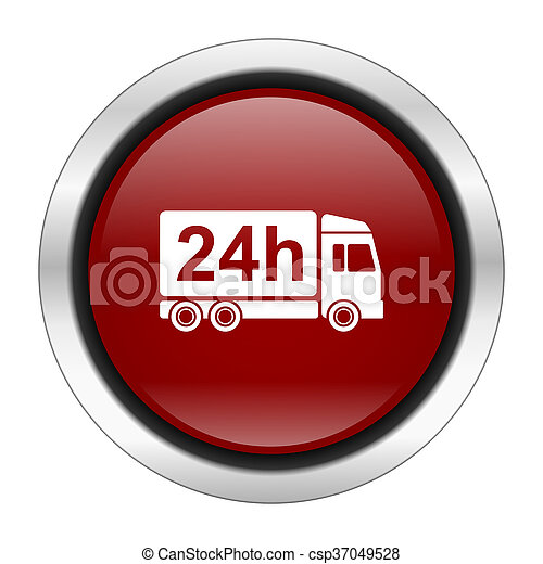 delivery icon, red round button isolated on white background, web design illustration - csp37049528