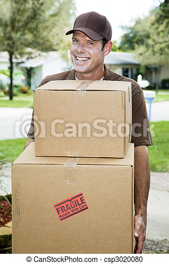 Delivery Man Carries Packages - csp3020080