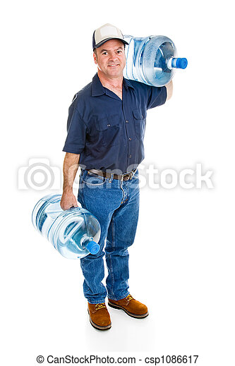 Delivery Man Carrying Water - csp1086617