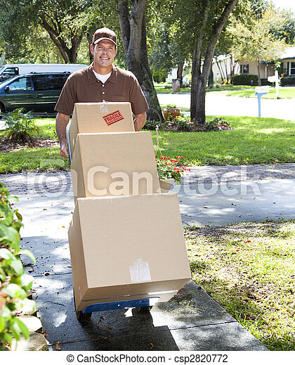 Delivery Man Coming Up the Walk - csp2820772