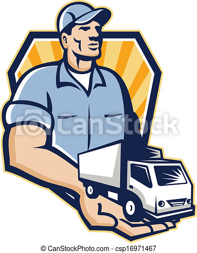 delivery man handing removal van crest retro illustration clip rh canstockphoto com  moving van clipart free