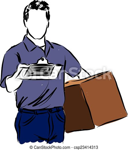 delivery man illustration vector clip art search illustration rh canstockphoto com clipart delivery truck clipart delivery van