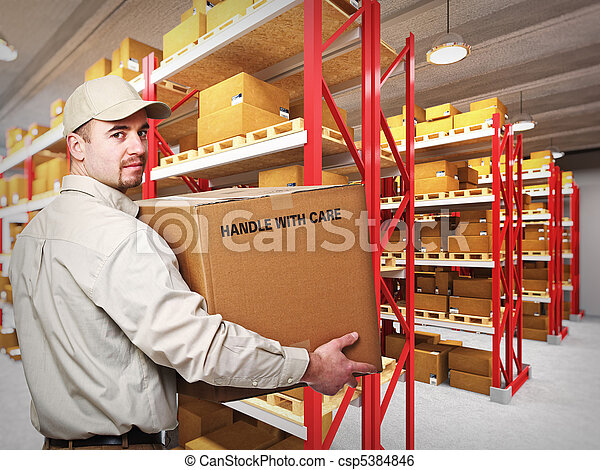 delivery man in warehouse - csp5384846
