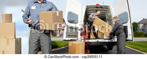 Delivery man near shipping truck. - csp39505111