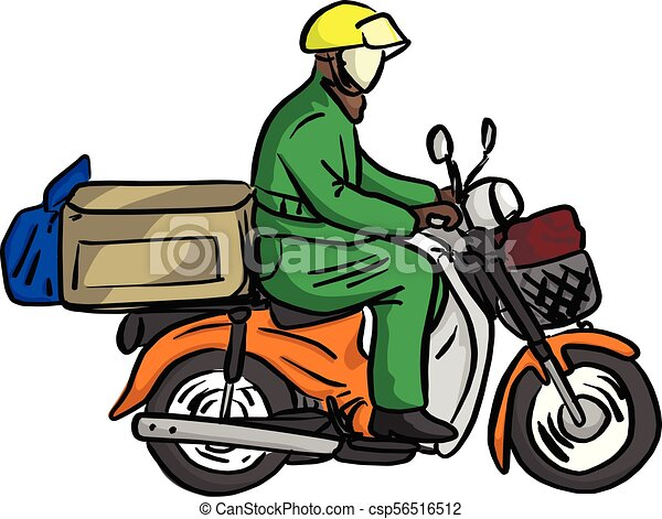 delivery man send order with motorcycle vector illustration rh canstockphoto com motorcycle vector clip art motorcycle vector png