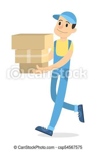 Delivery man with boxes. - csp54567575