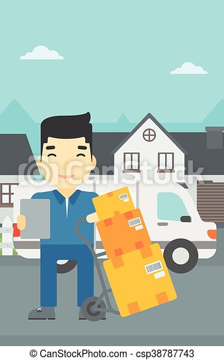 Delivery man with cardboard boxes. - csp38787743