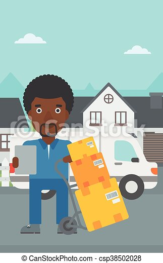 Delivery man with cardboard boxes. - csp38502028