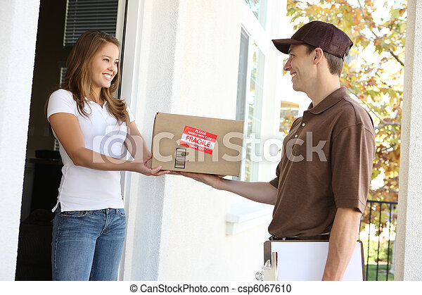 Delivery Man with Package - csp6067610