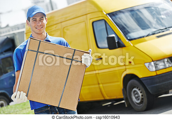Delivery man with parcel box - csp16010943