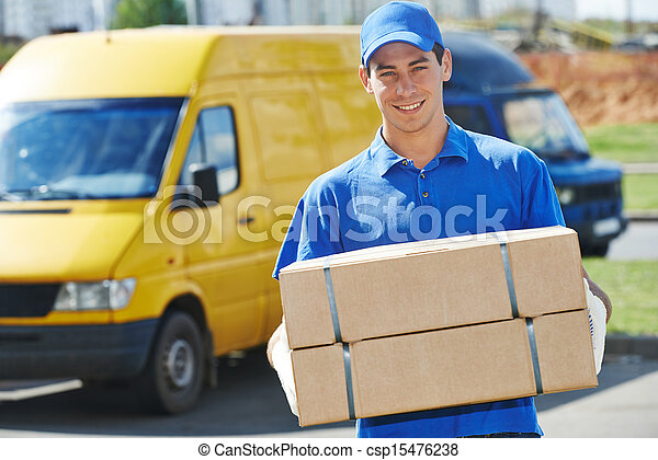Delivery man with parcel box - csp15476238