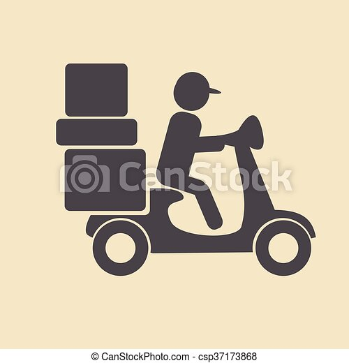 delivery moped icon - csp37173868