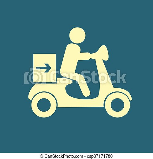 delivery moped icon - csp37171780