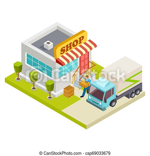 Delivery of bread to a small shop vector isometric illustration - csp69033679