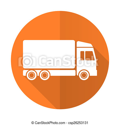 delivery orange flat icon truck sign - csp26253131