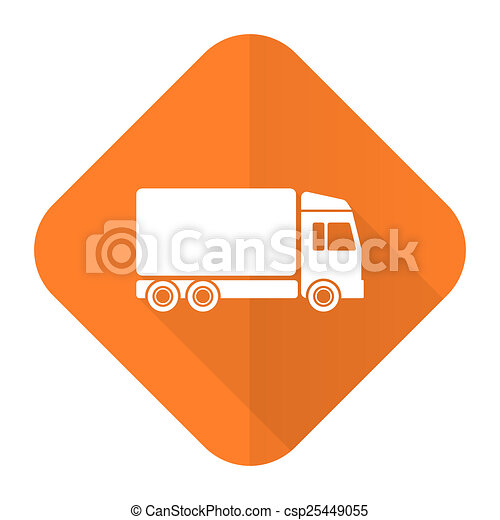delivery orange flat icon truck sign - csp25449055