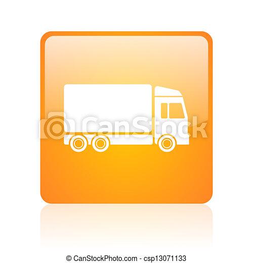 delivery orange square glossy web icon - csp13071133