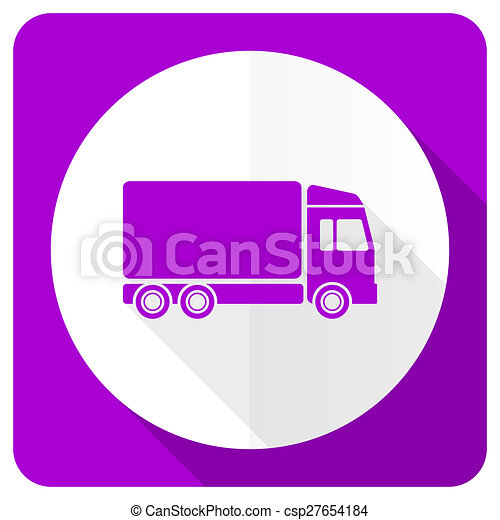 delivery pink flat icon truck sign - csp27654184