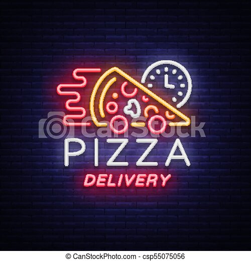 Delivery pizza neon sign  Logo in neon style, light banner, luminous  symbol, bright night neon advertising food delivery for restaurant, cafe,