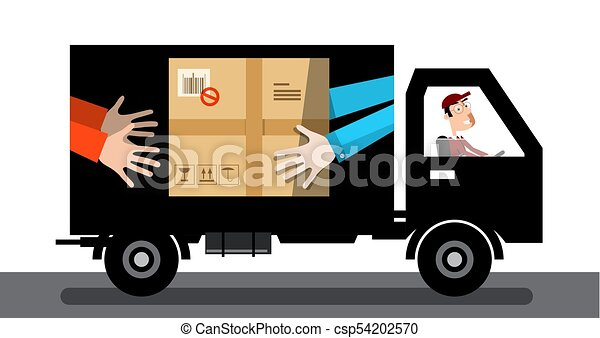 Delivery Service Van. Car with Parcel and Driver Isolated on White Background. - csp54202570