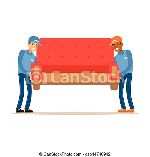 Delivery Service Worker Helping With Moving Carrying Sofa, Smiling Courier Delivering Packages Illustration - csp44746942
