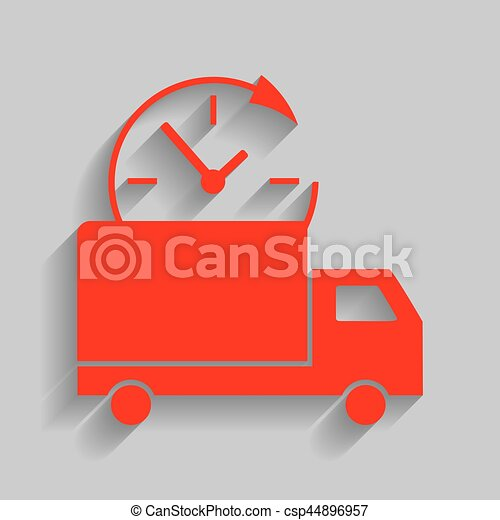 Delivery sign illustration. Vector. Red icon with soft shadow on gray background. - csp44896957