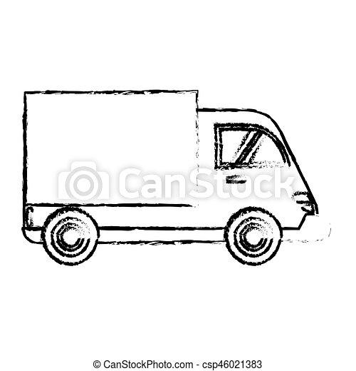 delivery truck cargo transport sketch - csp46021383