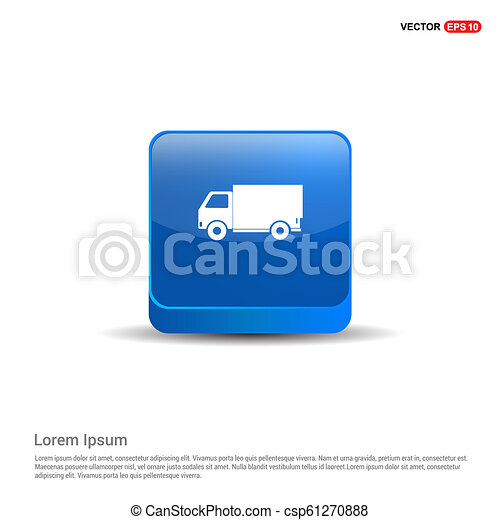 Delivery truck icon - 3d Blue Button - csp61270888