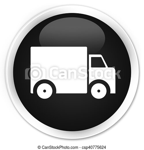 Delivery truck icon black glossy round button - csp40775624