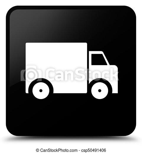 Delivery truck icon black square button - csp50491406