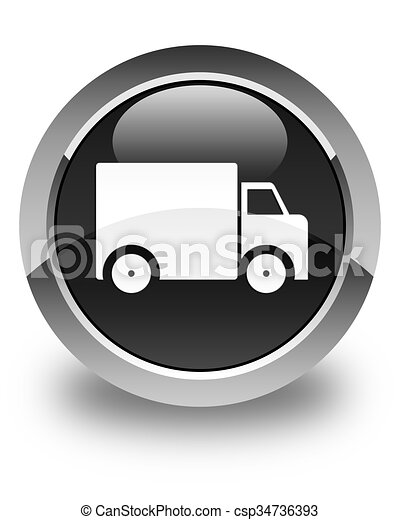 Delivery truck icon glossy black round button - csp34736393