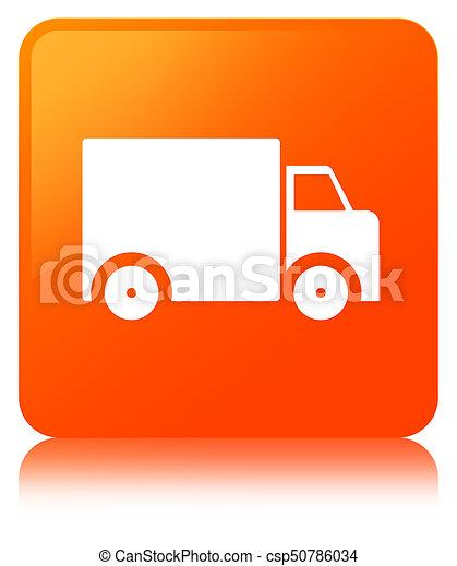 Delivery truck icon orange square button - csp50786034