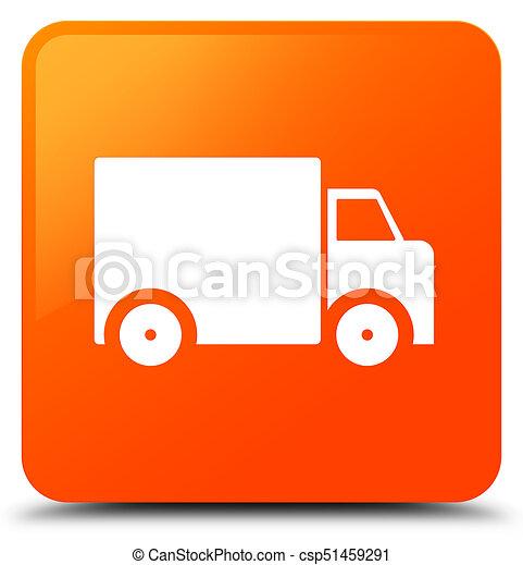 Delivery truck icon orange square button - csp51459291