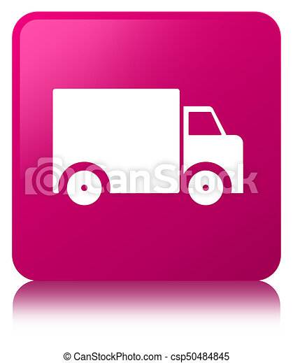 Delivery truck icon pink square button - csp50484845