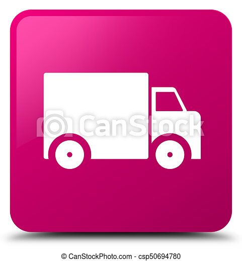Delivery truck icon pink square button - csp50694780