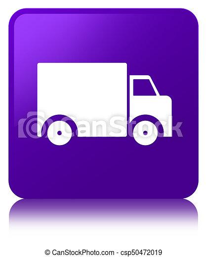 Delivery truck icon purple square button - csp50472019