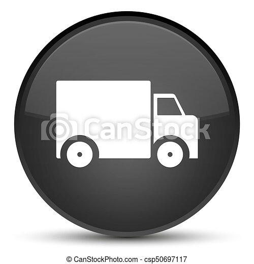 Delivery truck icon special black round button - csp50697117