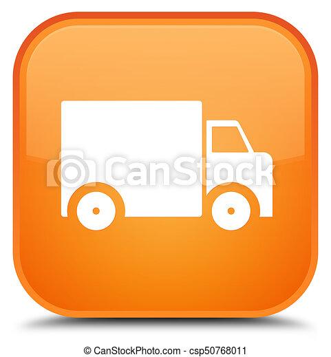 Delivery truck icon special orange square button - csp50768011
