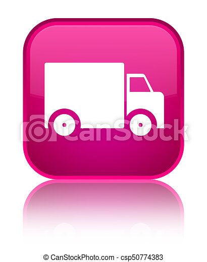 Delivery truck icon special pink square button - csp50774383