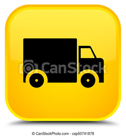 Delivery truck icon special yellow square button - csp50741878