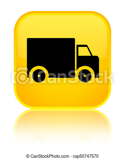 Delivery truck icon special yellow square button - csp50747570