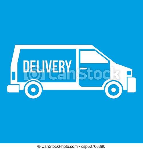 Delivery truck icon white - csp50706390