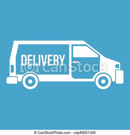 Delivery truck icon white - csp49251340