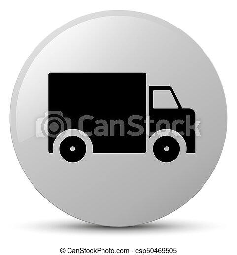 Delivery truck icon white round button - csp50469505