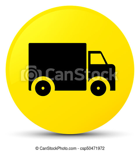 Delivery truck icon yellow round button - csp50471972
